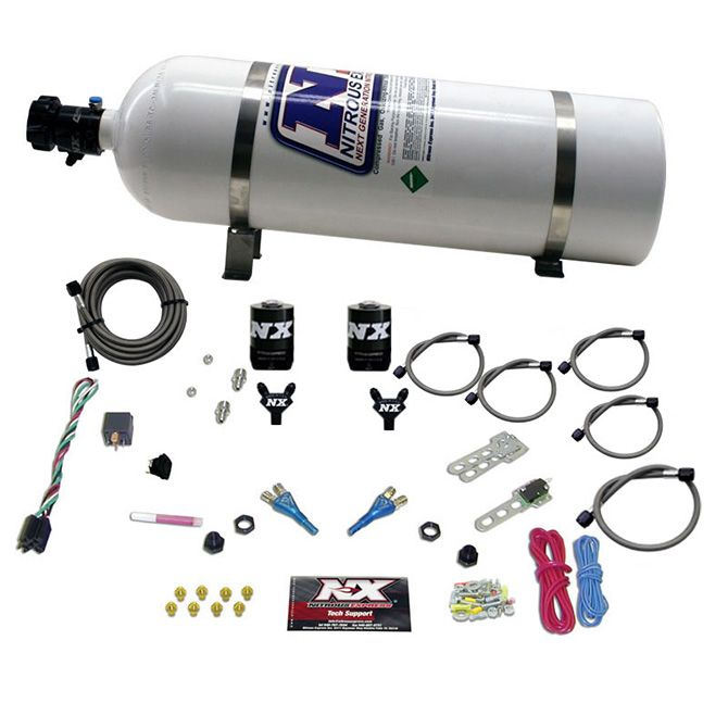 Nitrous DODGE EFI FULL RACE (100-150-200-300HP) DUAL NOZZLE WITH 15LB BOTTLE