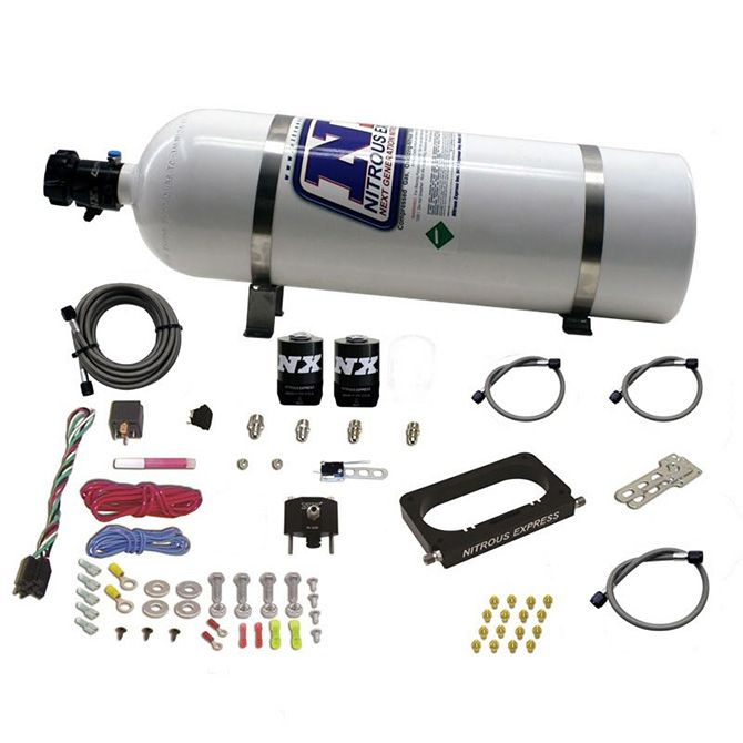 Nitrous FORD 4 VALVE NITROUS PLATE SYSTEM (50-300HP) WITH COMPOSITE BOTTLE