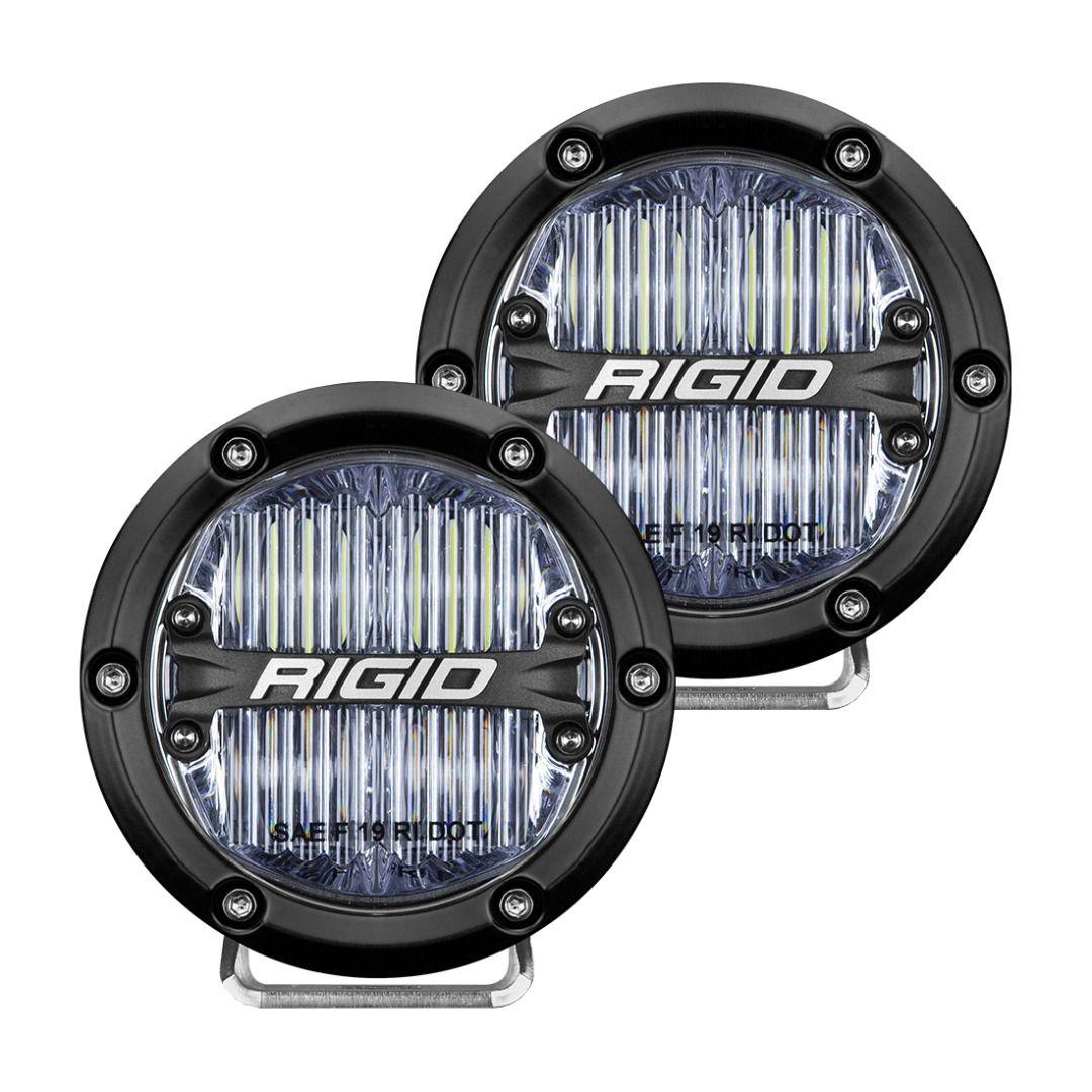 RIGID 360-Series 4 Inch Round SAE J583 Compliant Street Legal LED Fog Light, White, Pair