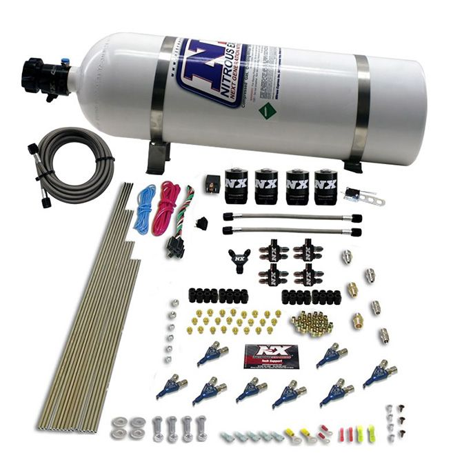 Nitrous 8 CYL PIRANHA DIRECT PORT, 4 SOLENOIDS, WITH 15LB BOTTLE (200-500HP JETTING)