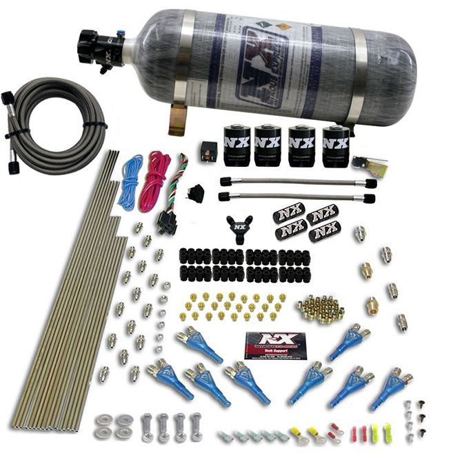 Nitrous 8 CYL SHARK DIRECT PORT, 4 SOLENOIDS, WITH COMPOSITE BOTTLE (200-600HP JETTING)