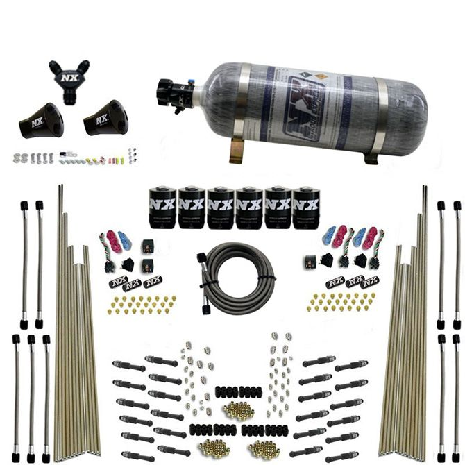 Nitrous 8 CYL DRY DIRECT PORT, THREE STAGE, 6 SOLENOIDS, W/ COMPOSITE BOTTLE (200-600HP)