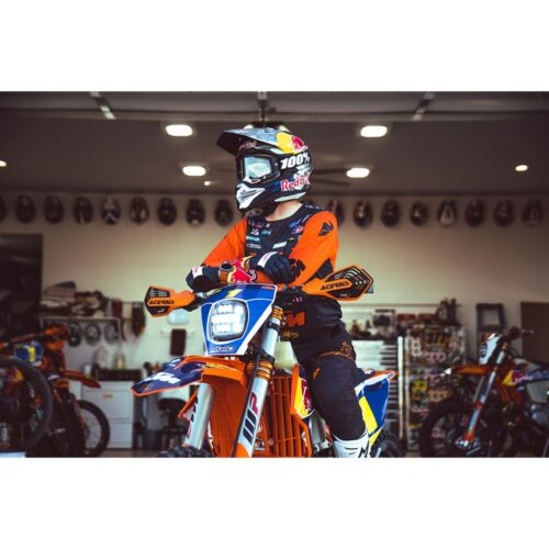 RIGID Adapt XE Extreme Enduro Ready To Ride Moto Kit, Includes LED Light With 3 Lighting Zones And GPS Module, Amber Light Cover, Black Number Plate, Wire Harness, 3 Position Kill Switch, And Mounting Kit