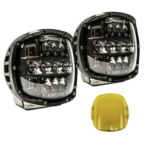 RIGID Adapt XP Extreme Powersports LED Light With 3 Lighting Zones And GPS Module, Kit Includes Amber Covers and Mounting Brackets,Pair