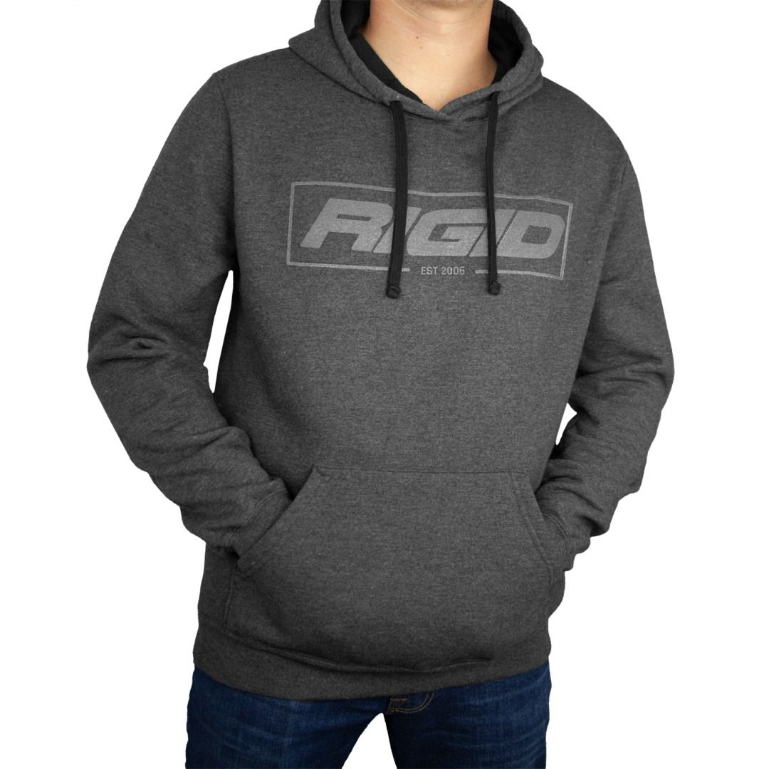 RIGID Pull Over Hoodie, Established 2006, Charcoal, Large